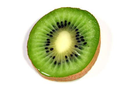 A slice of kiwi against a white background.
