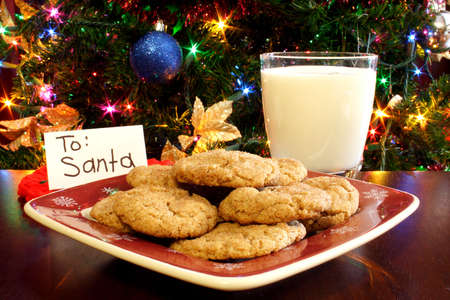 A plate of cookies and a glass of milk in front of a Christmas tree with a card for Santa.