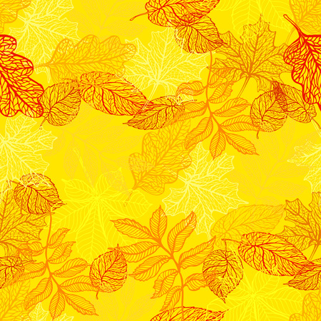 Seamless background with colorful autumn leaves.