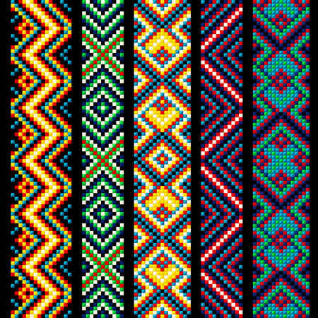 Beading design, tribal design, tribal beads, bead necklace, african beads, ethnic seamless pattern, embroidery cross, squares, diamonds, chevrons. 版權商用圖片 - 91683933