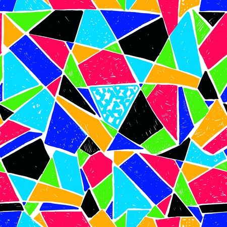 Mosaic pattern of broken tile Seamless hand drawn pattern with markers. Trending Memphis style. Abstract kaleidoscope.