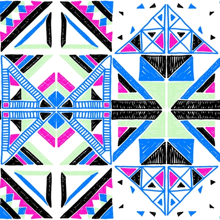 Seamless geometric African pattern. Ethnic ornament on the carpet. Aztec style. Tribal ethnic vector texture. Embroidery on fabric. Indian, Mexican, folk pattern. Quilting, patchwork, jacquard.