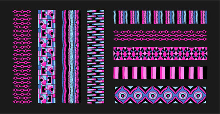 Set of ethnic art brushes in African style. The Aztec pattern. Oriental lace tape. Indian jewel. Embroidery on fabric. Asian ornament. Tribal art. The decoration of clothes. Ribbon, border. Illustration