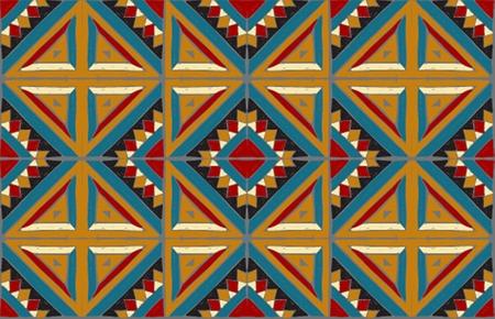 Azulejos antiguos Ornamento tribal del vector Patrones cuadrados populares africanos sin fisuras. Mosaico geométrico, mayólica. Alfombra étnica. Estilo azteca Tela de patchwork vintage Interior antiguo. Geo impresión en textil.