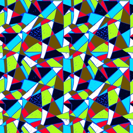Mosaic pattern of broken tile. Seamless hand drawn pattern with markers. Trending Memphis style abstract kaleidoscope.