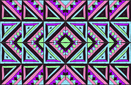 Tribal vector ornament. Seamless African pattern. Ethnic carpet with chevrons. Aztec style. Geometric mosaic on the tile, majolica.