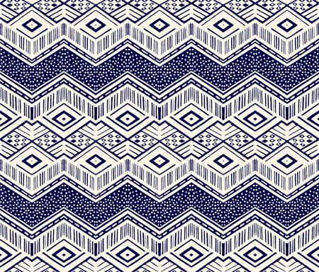イカット幾何学的民俗装飾。部族の民族ベクトルテクスチャ。アステカスタイルのシームレスなストライプパターン。フィギュア部族刺繍。インデ