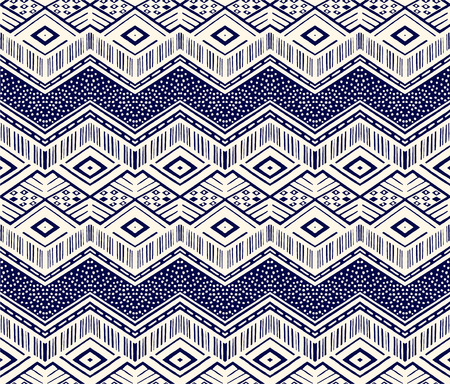 Ikat geometric folklore ornament. Tribal ethnic vector texture. Seamless striped  pattern in Aztec style. Figure tribal  embroidery. Indian, Scandinavian, Gypsy, Mexican, folk pattern.