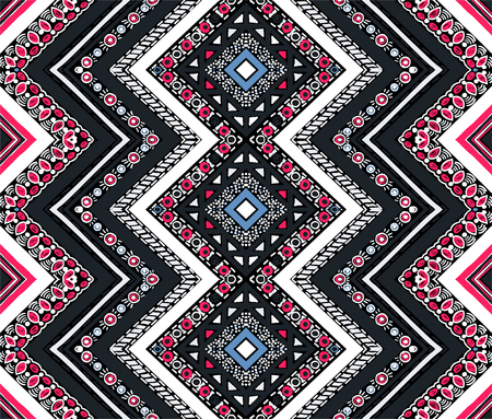 Geometric folklore ornament. Tribal ethnic vector texture. Seamless striped  pattern in Aztec style. Figure tribal  embroidery. Indian, Scandinavian, Slavic, Mexican, folk pattern. 일러스트