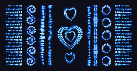 Tie dye heart. Valentines day. Art brushes. Print in Shibori style. Ribbon ornament, ribbon, border. Ethnic jewelry. Fashion embroidery for women's clothing. Elements of batik on fabric. Fringe. Illustration