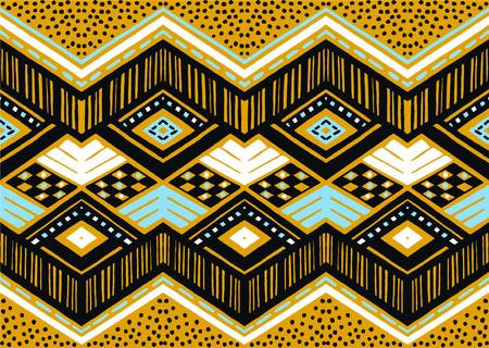 Ikat geometric folklore ornament. Tribal ethnic vector texture. Seamless striped pattern in Aztec style. Figure tribal embroidery. Indian, Scandinavian, Gypsy, Mexican, folk pattern. Çizim
