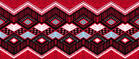 Ikat geometric folklore ornament. Tribal ethnic vector texture. Seamless striped pattern in Aztec style. Figure tribal embroidery. Indian, Scandinavian, Gypsy, Mexican, folk pattern.  イラスト・ベクター素材