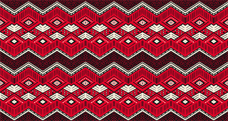 Ikat geometric folklore ornament tribal ethnic vector texture seamless striped pattern in Aztec style. Figure tribal embroidery, Indian, Scandinavian, Slavic, Mexican, folk pattern.