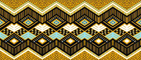 Ikat 기하학적 민속 장식입니다. 부족의 민족 벡터 질감입니다. 아즈텍 스타일의 원활한 줄무늬 패턴입니다. 그림 부족 자 수입니다. 인도, 스칸디나비아, 집시, 멕시코, 민속 패턴.