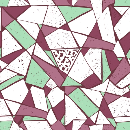 The mosaic pattern of broken tile. Seamless hand drawn pattern with markers.
