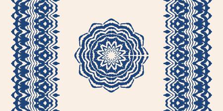 Conjunto de pinceles artísticos tie tie y tinte. Vector collar étnico. Patrón Ikat. Estampado shibori con rayas y chevron. Fondo japonés con textura de tinta. La moda bohemia. Textura de acuarela sin fin.