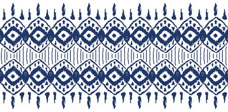Ikat naadloos patroon. Vector stropdas kleurstof shibori print met strepen en chevron. Inkt getextureerde Japanse achtergrond.