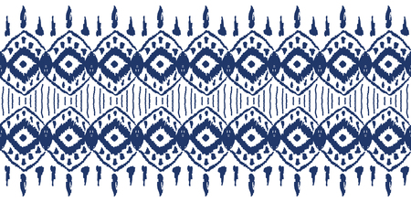 Ikat seamless pattern. Vector tie dye shibori print with stripes and chevron. Ink textured japanese background. Çizim
