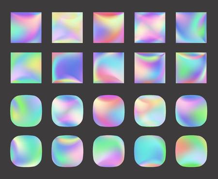 Conjunto de fondo de vector holográfico. Lámina iridiscente. Glitch Hologram. Pastel de neón del arco iris. Papel metalico. Plantilla para presentación. Portada para diseño web. Gradiente de perlas de colores abstractos. Ilustración de vector