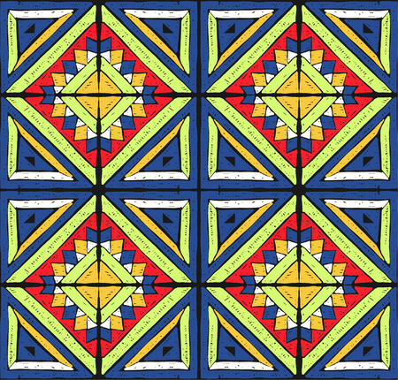 Antique tiles of Tribal vector ornament. Illustration