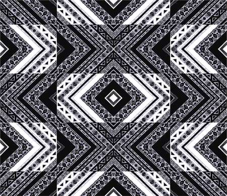 Tribal ethnic texture seamless striped pattern in Aztec style. Illustration
