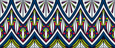 Geometric folklore ornament tribal ethnic texture seamless striped pattern in Aztec style. Illustration