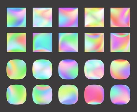 Satz ganz eigenhändig geschrieber Vektorhintergrund. Irisierende Folie. Glitch-Hologramm. Pastell Neon Regenbogen. Metallisches Papier. Vorlage für die Präsentation. Cover zum Webdesign. Abstrakte bunte Perlensteigung.