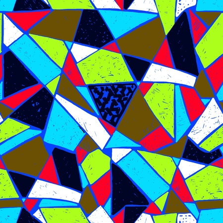 Mosaic pattern of broken tile. Seamless hand drawn  pattern with markers. Trending Memphis style.  Abstract kaleidoscope.