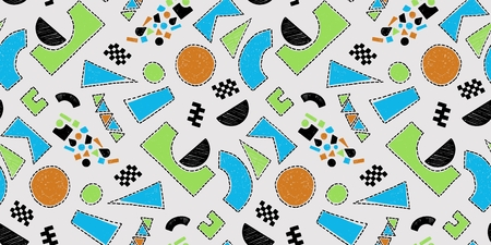 Mosaic pattern of broken tile. Seamless hand drawn pattern with markers. Vectores