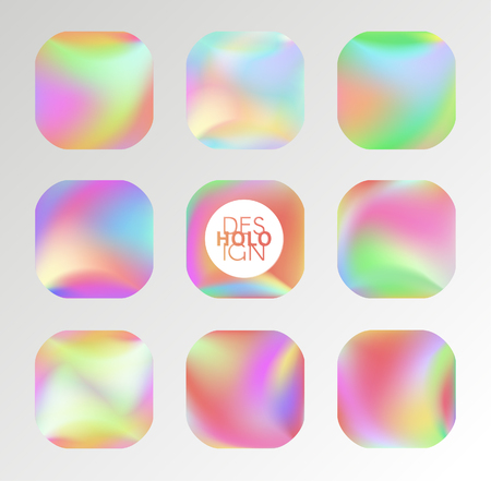 Set of holographic vector background. Iridescent foil. Glitch hologram. Pastel neon rainbow. Metallic paper. Template for presentation. Cover to web design. Abstract colorful pearl gradient. Ilustração