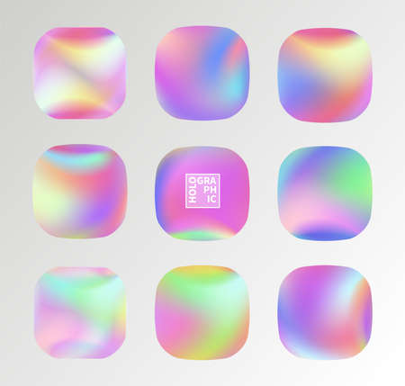 Set of Holographic Vector Background. Iridescent Foil. Glitch Hologram. Pastel neon rainbow. Metallic paper. Template for presentation. Cover to web design.  Abstract colorful  pearl gradient.