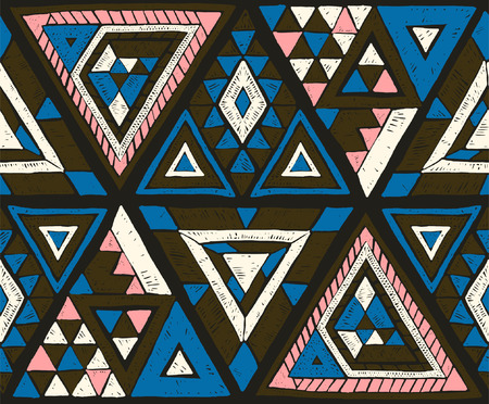 Geometric folklore hipster ornament with a triangle. Tribal ethnic vector embroidered texture. Seamless pattern in Aztec style.