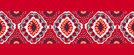 Ikat geometric folklore ornament, tribal ethnic vector texture seamless striped pattern in Aztec style figure tribal embroidery, Indian, Scandinavian, Gypsy, Mexican, folk pattern.
