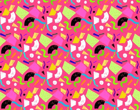 Geometric Memphis seamless pattern