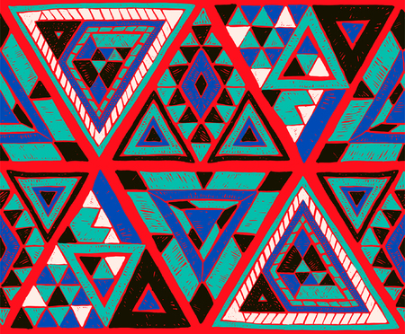Geometric folklore hipster ornament with a triangle. Tribal ethnic vector embroidered texture. Seamless pattern in Aztec style. Japanese fabric. Illustration