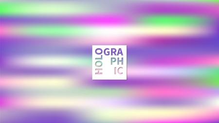 ホログラフィックベクトルの背景。虹色の箔。グリッチ・ホログラムパステルネオンレインボー。紫外線金属紙。プレゼンテーション用のテンプレ