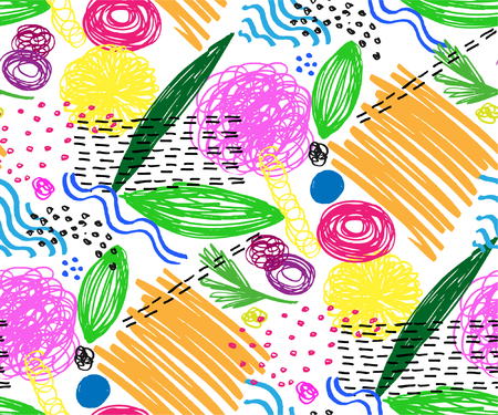 Seamless pattern with abstract flowers. Background with spots and splashes of paint. Watercolor art. Fashion drawing for women's clothes.