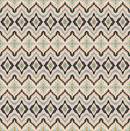 Geometric folklore ornament. Tribal ethnic vector texture. Seamless striped pattern with sea shells. Figure tribal embroidery. Indian, Scandinavian, Gypsy, Mexican, folk pattern. 版權商用圖片 - 101620589
