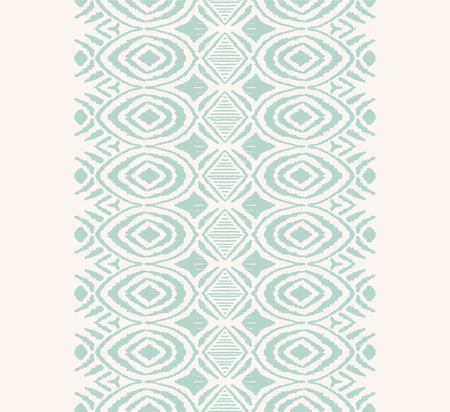 Ikat seamless pattern. Vector tie dye shibori print with stripes and chevron. Ink textured japanese background. Ethnic fabric vector. Bohemian fashion. Endless watercolor texture. African rug. Çizim