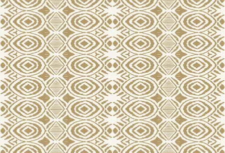Ikat seamless pattern. Vector tie dye shibori print with stripes and chevron. Ink textured japanese background. Ethnic fabric vector. Bohemian fashion. Endless watercolor texture. African rug. Illustration