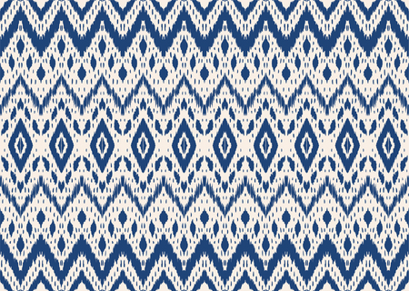 Ikat seamless pattern. Vector tie dye shibori print with stripes and chevron. Ink textured japanese background. Ethnic fabric vector. Bohemian fashion. Endless watercolor texture. African rug. Иллюстрация