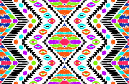 Tribal vector ornament. Seamless African pattern. Ethnic carpet with chevrons. Aztec style. Geometric mosaic on the tile, majolica. Ancient interior. Modern rug. Geo print on textile. Vintage fabric. Vettoriali