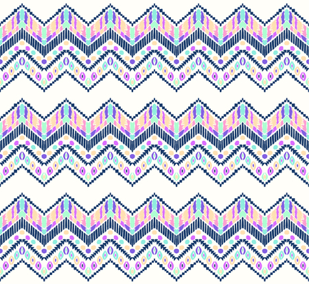 Tribal vector ornament. Seamless African pattern. Ethnic carpet with chevrons. Aztec style. Geometric mosaic on the tile, majolica. Ancient interior. Modern rug. Geo print on textile. Vintage fabric. Ilustrace