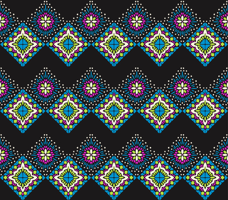 Ikat geometric folklore ornament. Tribal ethnic vector texture. Seamless striped pattern in Aztec style. Figure tribal embroidery. Indian, Scandinavian, Gypsy, Mexican, folk pattern. Ilustrace