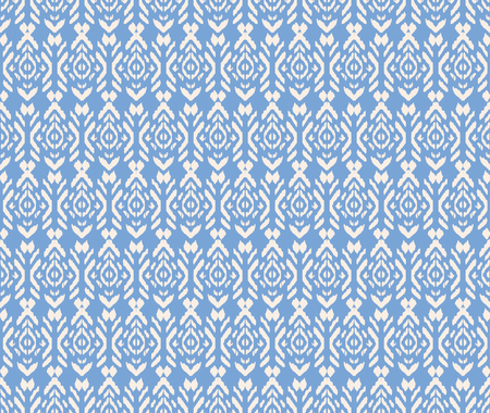 Ikat seamless . Vector tie dye shibori print with stripes and chevron. Ink textured japanese background. Ethnic fabric vector. Bohemian fashion. Endless  texture. African rug. Illustration
