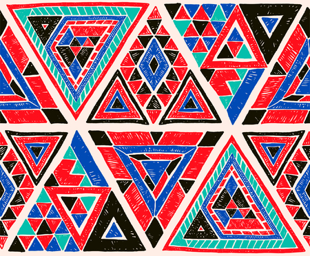 Indian geometric folklore ornament with  triangle. Tribal ethnic vector patchwork texture.  Scandinavian embroidery. Seamless striped  pattern in Aztec style. Gypsy, Mexican, folk pattern.