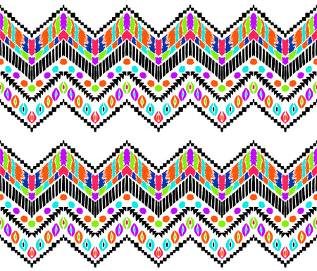 Tribal vector ornament. Seamless African pattern. Ethnic carpet with chevrons. Aztec style. Geometric mosaic on the tile, majolica. Ancient interior. Modern rug. Geo print on textile. Vintage fabric. Illustration