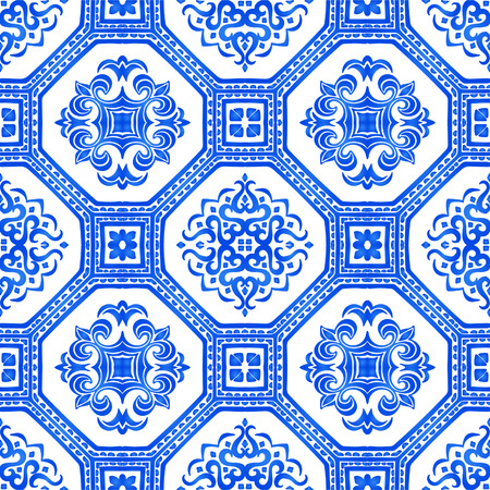 Talavera pattern.  Azulejos portugal. Turkish ornament. Moroccan tile mosaic. Spanish porcelain. Ceramic tableware, folk print. Spanish pottery. Ethnic background. Mediterranean seamless  wallpaper. Banco de Imagens - 104665419