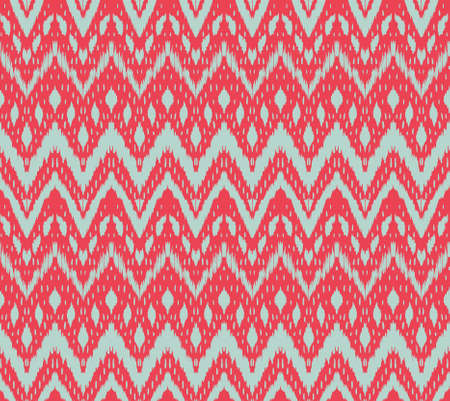 Ikat seamless pattern. Vector tie dye shibori print with stripes and chevron. Ink textured japanese background. Ethnic fabric vector. Bohemian fashion. Endless watercolor texture. African rug.  イラスト・ベクター素材