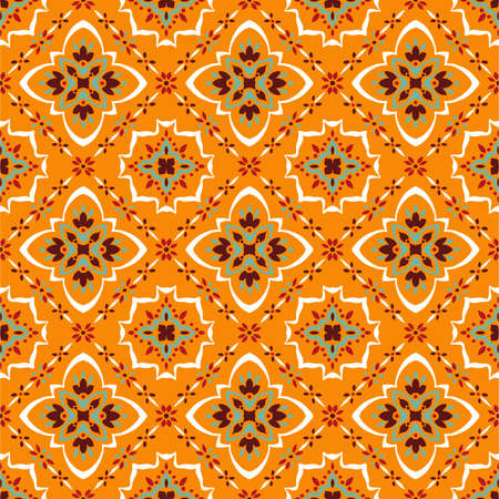 Talavera pattern.  Azulejos portugal. Turkish ornament. Moroccan tile mosaic. Spanish porcelain. Ceramic tableware, folk print. Spanish pottery. Ethnic background. Mediterranean seamless  wallpaper. Banco de Imagens - 104711666